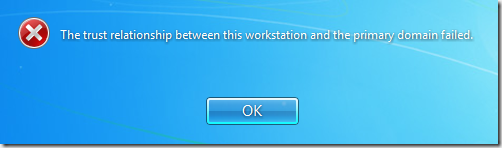 the trust relationship between this workstation and domain has failed